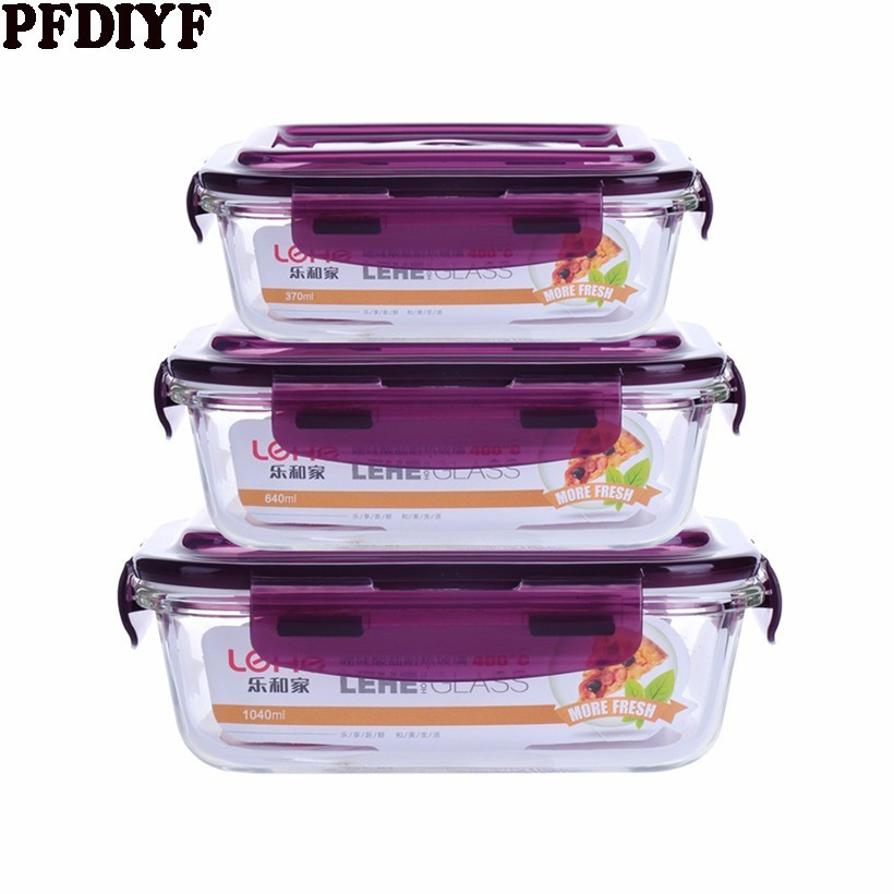 Microwave Oven Heating Lunch Box For Office Worker Leakproof Glass Lunch Box Set Round With Lid Seal Health Food Container
