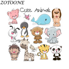 ZOTOONE DIY Thermo Stickers Applique Patch Stickers Cute Animal Combination Iron on Transfers Patches for Kids Clothing Bag E