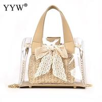 Mini Multi function Transparent Straw Rattan Composition Bag Women Tote Handbag Shoulder Bag with Ribbons Bow Lady Handbag Chain