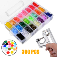 360Sets Snap Buttons Platic DIY Sewing Tools Fastener Snap Pliers T5 Quilt Cover Sheet Button Fasteners Dummy Clips Press Studs