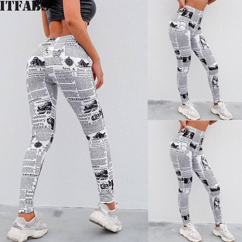 72b9064e82c Detail Feedback Questions about Black and White Highstreet Newspaper Letter  Print Streetwear Leggings 2018 Summer Women Sexy Casual Trousers Plus Size  XL on ...