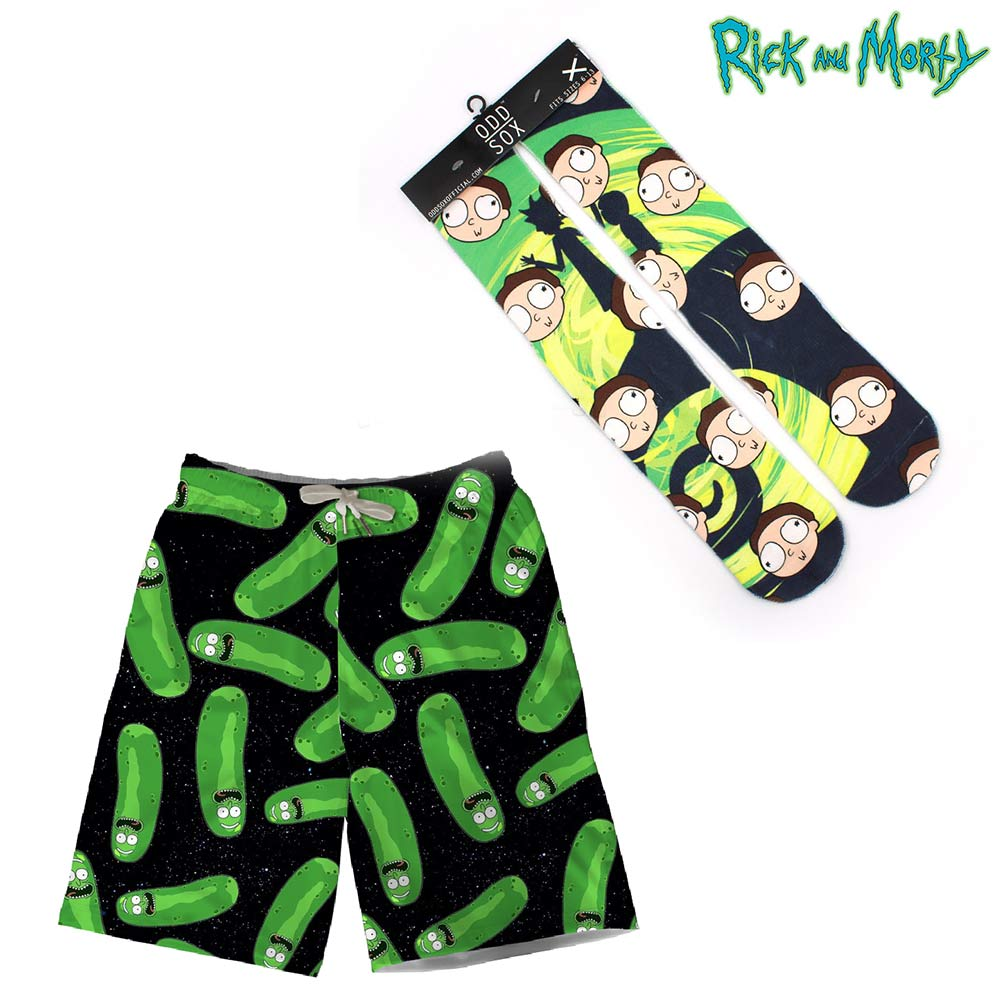 OHCOMICS Rick and Mori Pickle Rick 2PCS Hot Anime Shorts+Socks Pants Stockings Hose Tight Costume Clothing Set Cosplay Decor