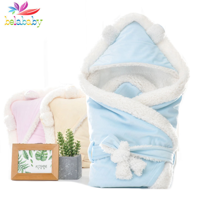 2019 Winter Soft Envelope For Newborns Hooded Solid Sleeping Bag Baby Warm Thicken Boys Girls Winter Envelope