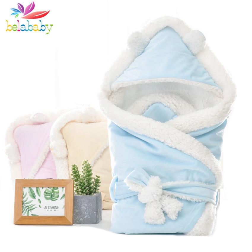 2019 inverno envelope macio para recem nascidos com capuz solido saco de dormir do bebe quente