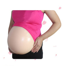 Hot Sell False Silicone Skin Belly Pregnant With Adhesive Backside Transparent Straps Jelly Tummy(China)