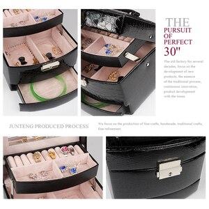 Image 4 - 自動革の宝石箱三層収納ボックス女性のためのイヤリングリング化粧品オーガナイザー棺装飾用黒