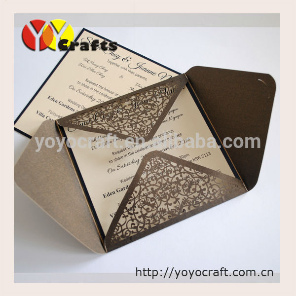 3d Laser Cutting Handmade Wedding Invitation Card In Party Favors