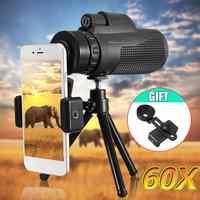 40X60 HD Zoom telescopio Monocular viaje al aire libre senderismo teleobjetivo de la Cámara + soporte del teléfono + trípode para iPhone XS Max X XR