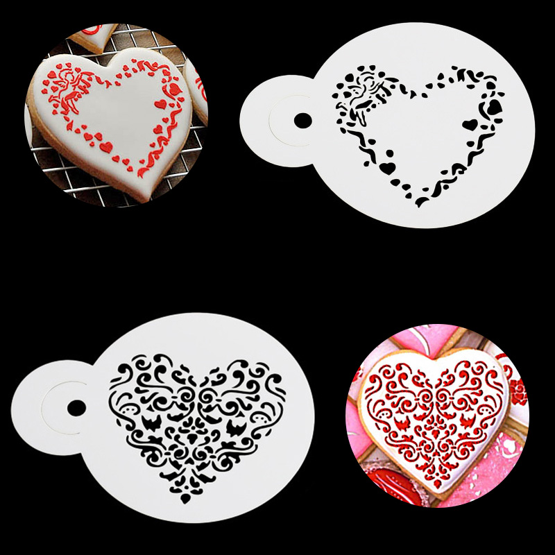 3pcs Vintage Flowers Heart Wall Stencil Kids Painting Decor Stencils For Art Album Diary Stamp Paper Card Craft Diy Scrapbooking