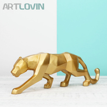 Modern Home Decoration Accessories Leopard Geometric Sculpture Decorative Figurines Abstract Wolf Dog Golden Animal Statues New!