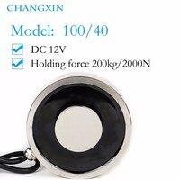 100*40mm Large Suction 200kg Dc 5v/12v/24v Big Solenoid Electromagnet Electric Lifting Electro Strong Magnet
