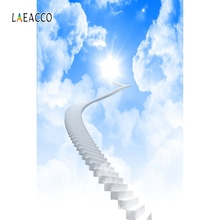 Laeacco Blue Sky Ladder White Cloud Backdrop People Portrait Photography Background Photographic Backdrops For Photo Studio
