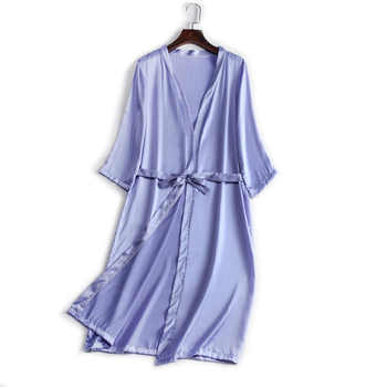 100% Natural silk Women Robes Silk Satin Knee length robe Belted Healthy Sleep wear 2019 Fall New Black White Champagne