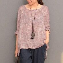 купить ZANZEA Cotton Linen Split Irregular Hem Blouse Long Sleeve Round Neck Solid Pullover Shirt Top Women Autumn Casual Retro Blusas дешево