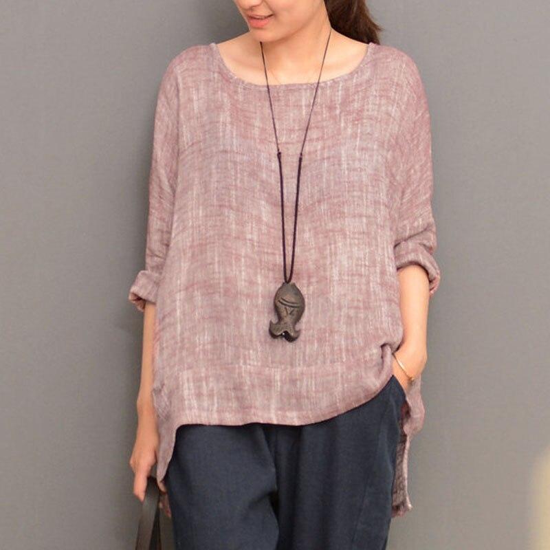 ZANZEA Cotton Split Irregular Hem Blouse Long Sleeve Round Neck Solid Pullover Shirt Top Women Autumn Casual Retro Blusas Femme