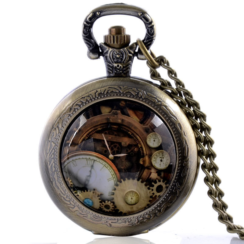 IBEINA High Quality Antique Retro Steampunk Quartz Pocket Watch With Chain Mens Steel Watches Chain Gift