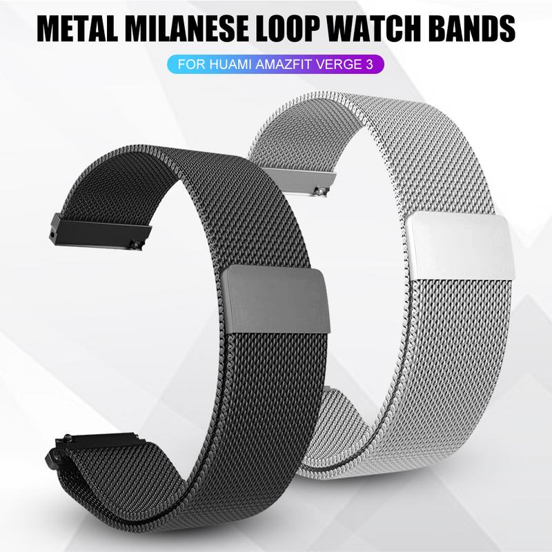 New Hot Metal Milanese Loop Watch Bands Wrist Strap Magnetic Adsorption Wristband Durable Strap For Xiaomi Huami Amazfit Verge 3
