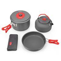 ALOCS CW C19T Hard Alumina Cooking Kit Cookware Set Portable Ultralight 2 3 People Pot Pan Kettle Dishcloth for Camping Pi