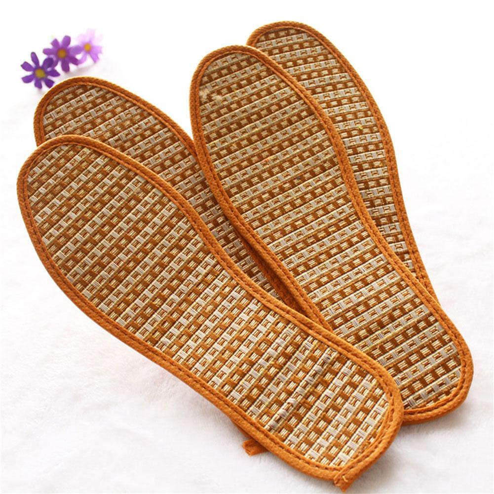 Hot 1 Pair Breathable Deodorant Anti-Bacterial Bamboo Charcoal Linen Hand-Woven Shoe Pads Insoles For Women Shoes Wholesale