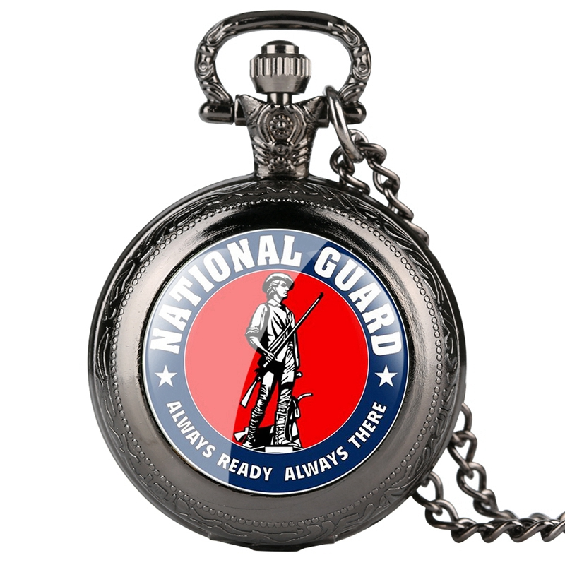 Army National Guard Quartz Pocket Watch Necklace A Man Holding A Gun Defend Peace Always Ready Always There Army Chain Watch