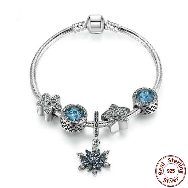 Summer Collection 925 Sterling Silver Blue Charm Bracelet With Radiant Hearts,snowflake Jewelry Psb004 BAMOERSummer Collection 925 Sterling Silver Blue Charm Bracelet With Radiant Hearts,snowflake Jewelry Psb004 BAMOER