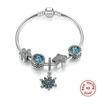 Summer Collection 925 Sterling Silver Blue Charm Bracelet With Radiant Hearts,snowflake Jewelry Psb004 BAMOER