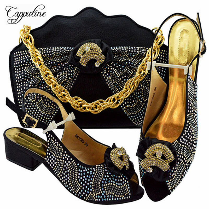New Design Rhinestone Ladies Pumps Shoes And Bag Set African Style Black Color Pumps 3 5CM