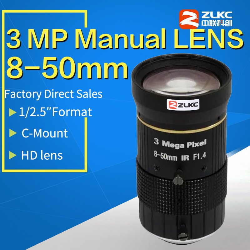 HD FA CCTV lens 8 50mm Camera Lens 1 2 5 Varifocal Manual Iris Lens 3MP