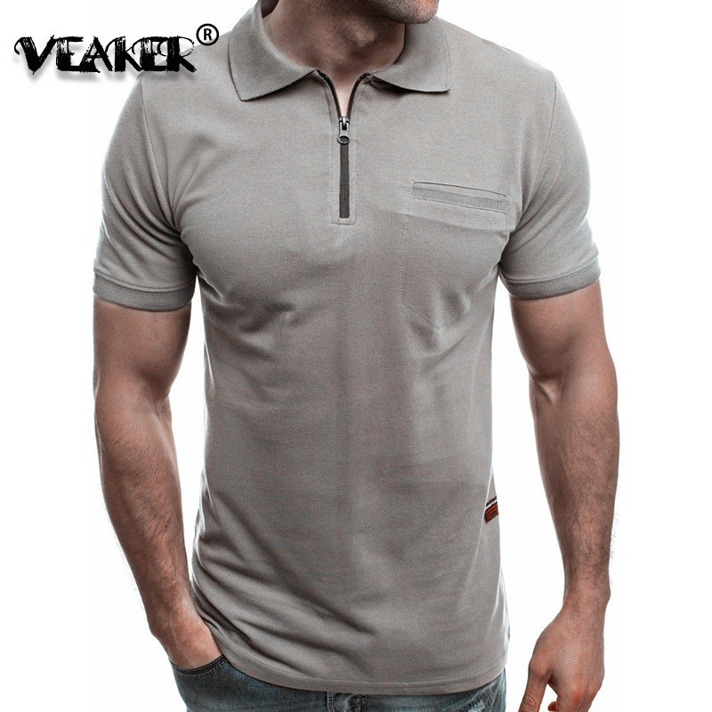 New Summer Zipper Poloshirts Men Solid Red Shirts Lapel Pocket Short Sleeve T Pity   Polo   Man poloShirts Plus Size Brand Male tops