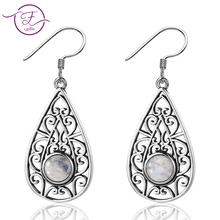 DIY new 925 sterling silver earrings 6MM round moonstone retro Persian texture style pendant wholesale engagement party