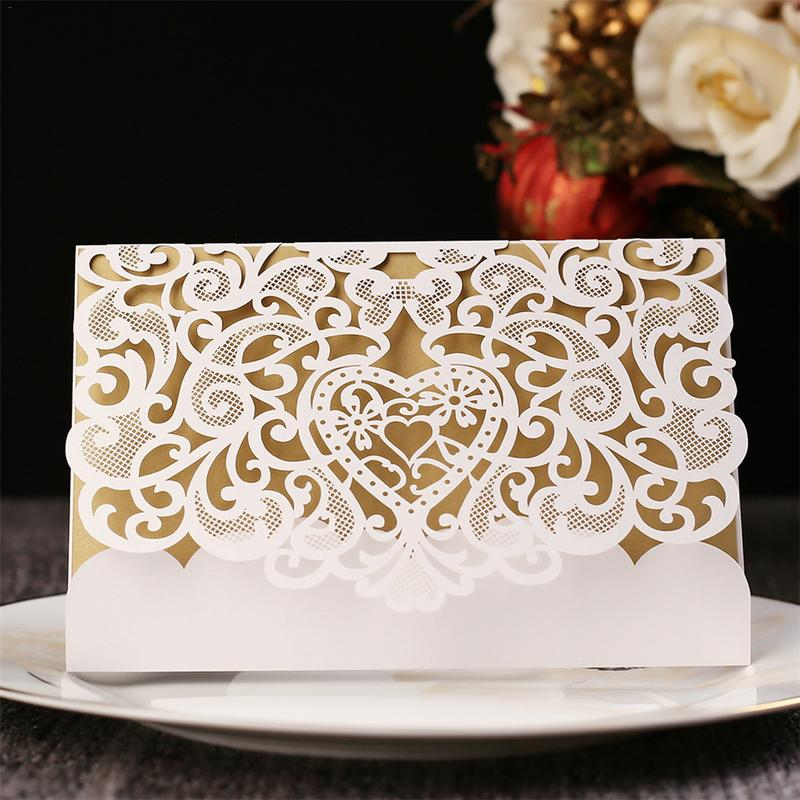 10pcs Cutout European Invitation Card Business Wedding Elegant Lace Envelopes Event