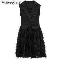 TWOTWINSTYLE Elegant Off Shoulder Short Vest Dress Female Sleeveless Tassel Women's Black Dresses High Waist 2018 Autumn Clothes