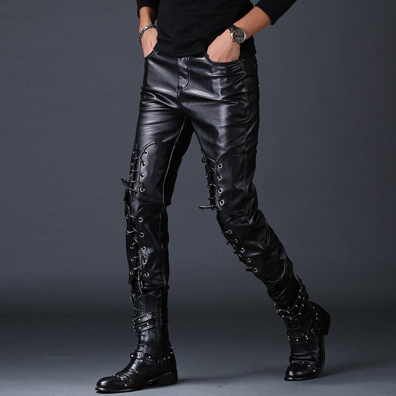 #2225 Frühling Fleece Faux Leder Hosen Männer Dünne Koreanische Stil Engen Pu Hosen Schwarz Motorrad Bandage Punk Hip Hop Plus Größe Top Wassermelonen