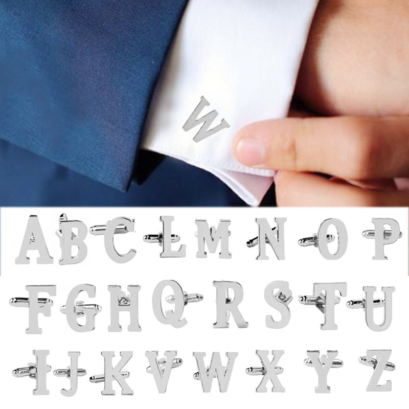 Alphabet Cufflink Letter Business Wedding Formal Initial Fashion Silvery New Men