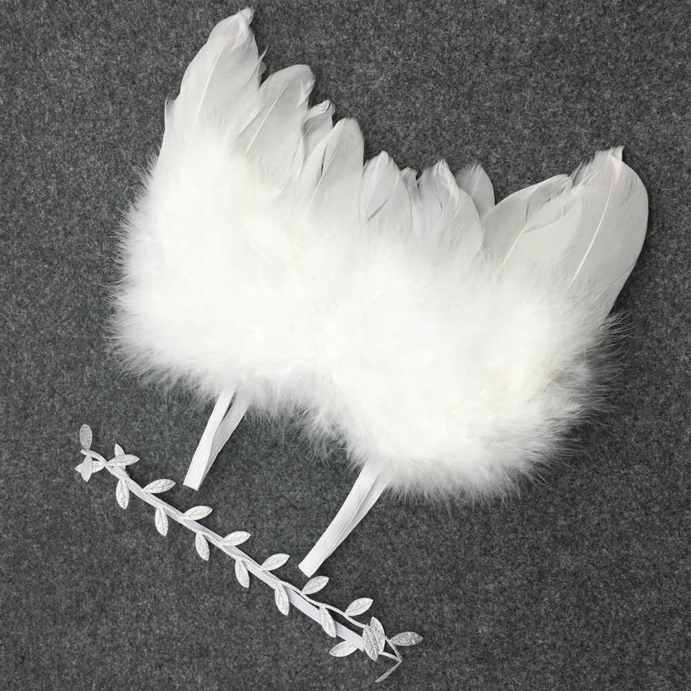 Decoración de la boda películas accesorios de la foto regalo de Navidad Chic colgante Ángel Blanco pluma ala Navidad árbol decoración Adorno