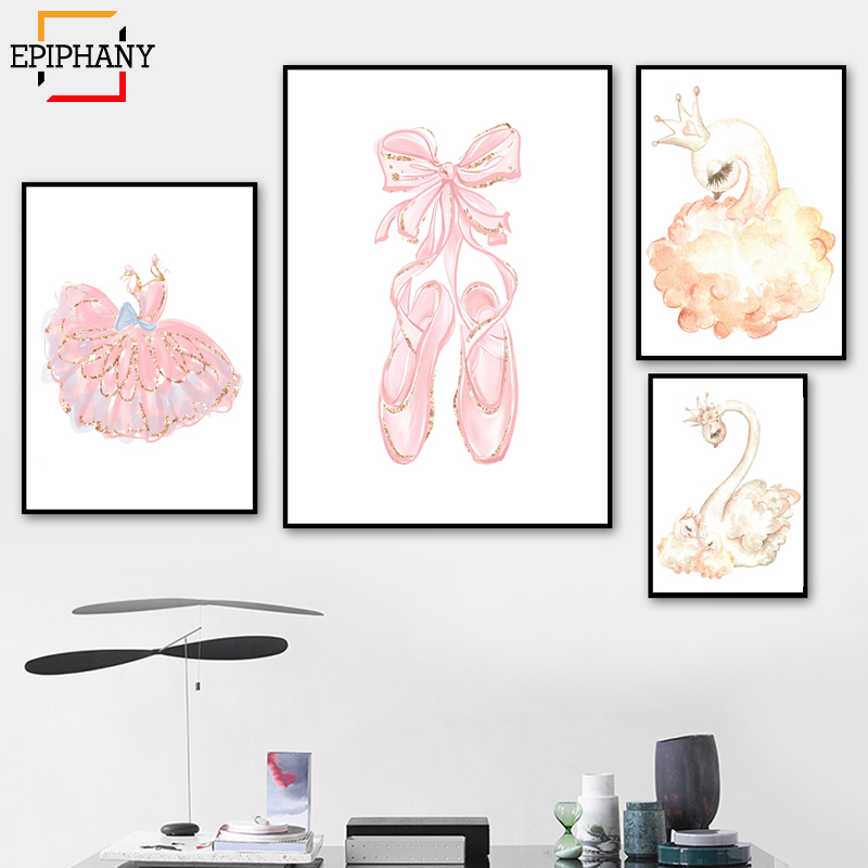 Swan Princess Nursery Wall Art Baby Girl Pink Ballet Slipper Canvas Painting Watercolor Cartoon Posters For Girls Room Decor