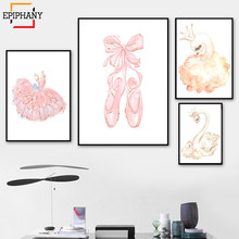 Swan Princess Nursery Wall Art Baby Girl Pink Ballet Slipper Canvas Painting Watercolor Cartoon Posters for Girls Room Decor(China)
