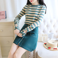Korean fashion hollow out sweet bowknot long sleeved striped sweater double pocket zipper bust skirt suit womnen outfits wear
