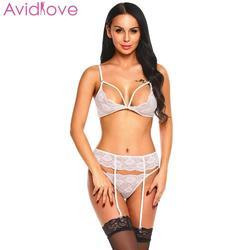 Avidlove, женское сексуальное нижнее белье, нижнее белье с вышивкой, Дамское сексуальное нижнее белье, набор, с вырезами, кружевное, горячее, Эро... 4