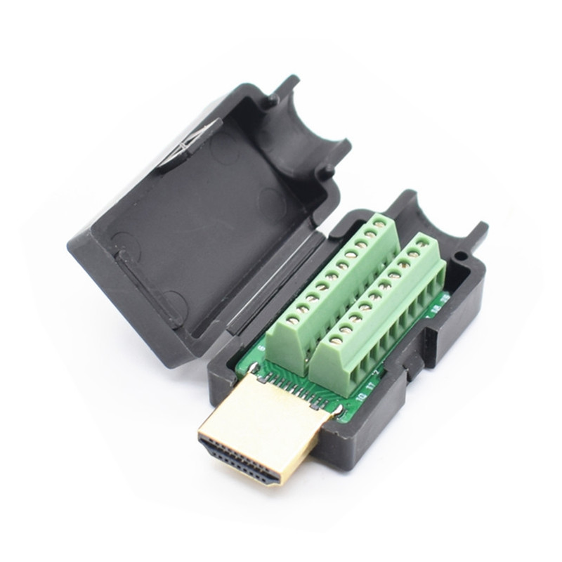 HDMI Male 19P Plug Breakout Terminals Solderless Connector With Black Cover