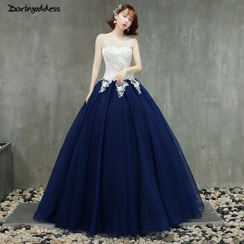 Bleu marine robe de bal princesse Quinceanera robes 2019 filles dentelle mascarade douce 16 robes robes de bal robes de 15 anos
