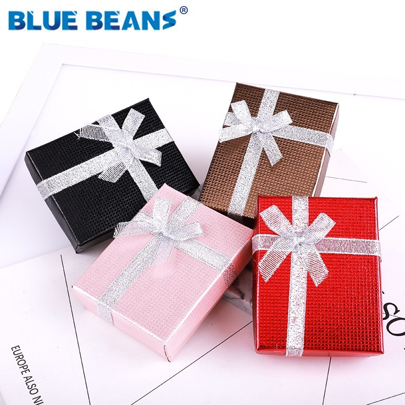 Hot Sell Jewelry Necklace Earrings Ring Packaging Box Paper Gift Box Jewellery Organizer Sponge Boxes Gift Bangles Bow Red 2019