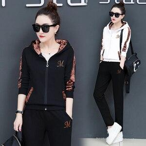 Image 3 - Female hoodie 3 Piece Set Women Set Outfits Suit Fashion Pants Set Tracksuits Korea plus size  lounge wear fall clothes 2020