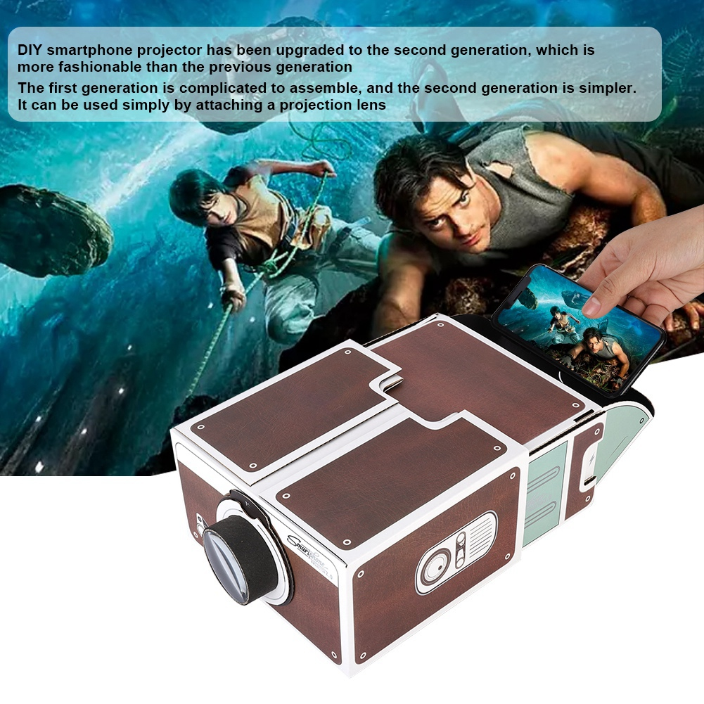 Hingebungsvoll Zweiten Generation Diy Hause Tragbare Smartphone Mini Projector Home Cinema System Karton Hausgemachte Handy Pico Projektor Unterhaltungselektronik