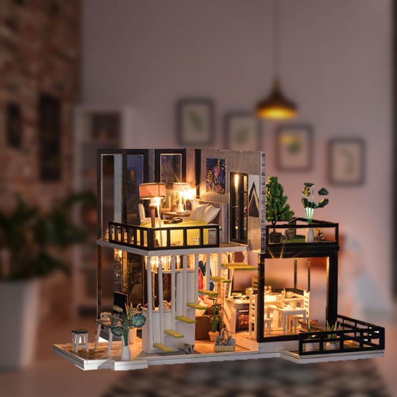 Assemblage bâtiment modèle jouet maison de poupée en bois maison de poupée miniature à monter soi-même Kit de meubles artisanat cadeau d'anniversaire pour 3 + Y enfants - 5