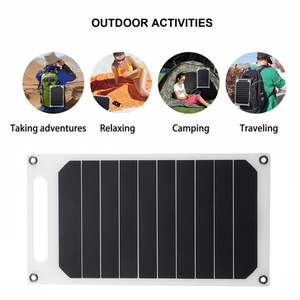 Image 1 - LEORY 5V 10W DIY Portable Solar Panel Camping Slim Light USB Charger Charging Power Bank Pad Universal For Phone Lighting Car