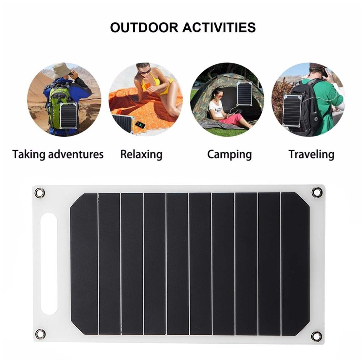 LEORY <font><b>5V</b></font> <font><b>10W</b></font> DIY Portable <font><b>Solar</b></font> <font><b>Panel</b></font> Slim Light USB Charger Charging Power Bank Pad Universal For Phone Lighting Car Charger image
