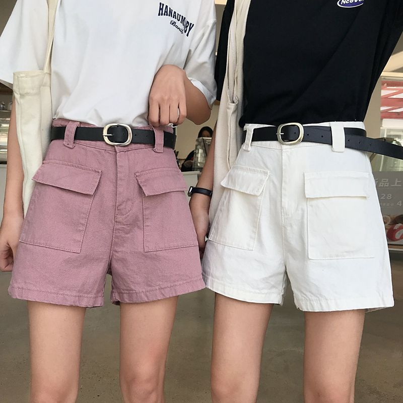 2019 Summer White Denim   Shorts   High Waist Wide Leg Jean   Shorts   Without belt Solid Color Korean Fashion