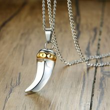 Vantage Wolf Tooth Pendant Men Necklace Silver Stainless Steel Charm Spike Brave Male Gifts(China)