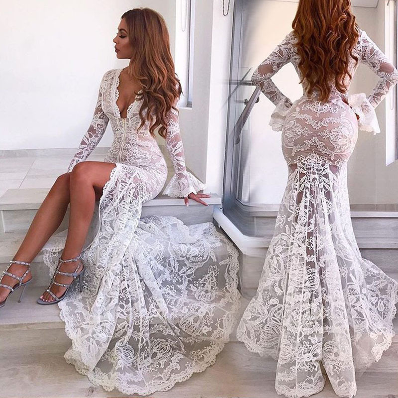 Uguest Women Sexy Lace Dress Deep V Neck Flare Sleeve Mermaid Vintage Maxi Long Dress Summer Slim Vestidos Party Wedding Club